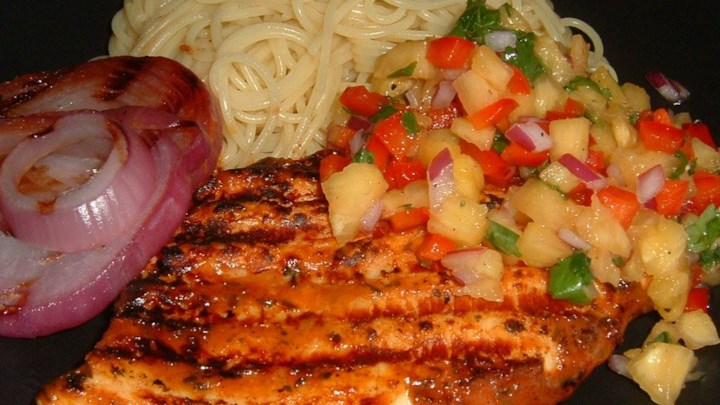 Caribbean Grilled Chicken Breast with Pineapple Salsa Recipe ...