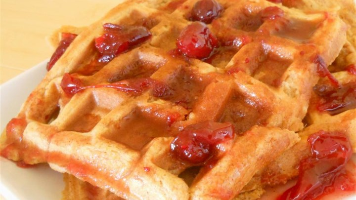 Sweet Potato Waffles with Cranberry Maple Syrup