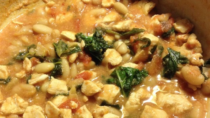 Chicken and Tomato Stew with Arugula and Cannellini