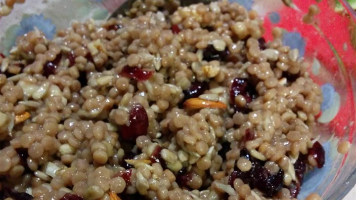 Israeli Couscous with Cranberries, Walnuts, and Sunflower Seeds