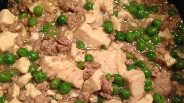 Tofu and Ground Pork with Peas