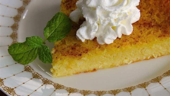 Impossible Eggnog Coconut Pie