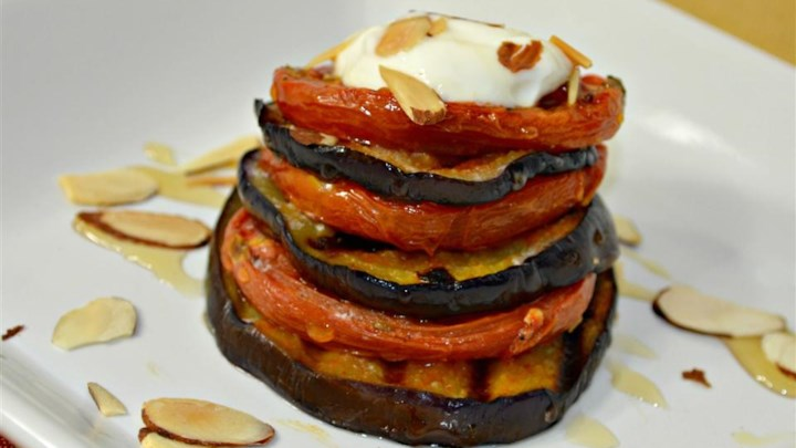 Roasted Eggplant and Tomato Towers