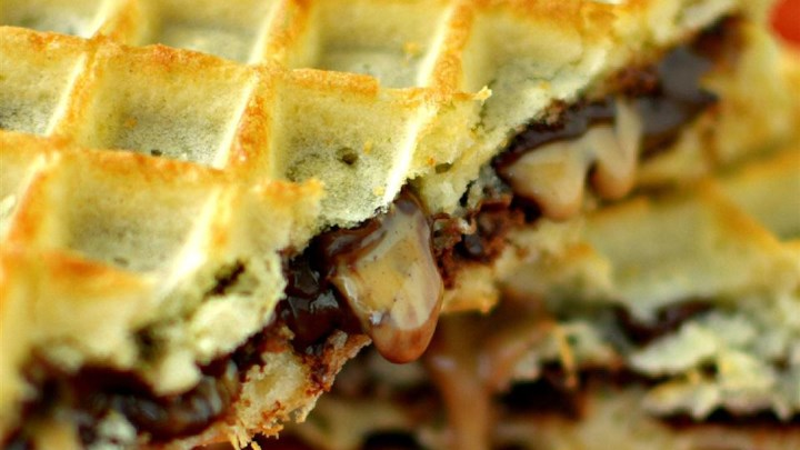 Peanut Butter Chocolate Waffle Sandwich