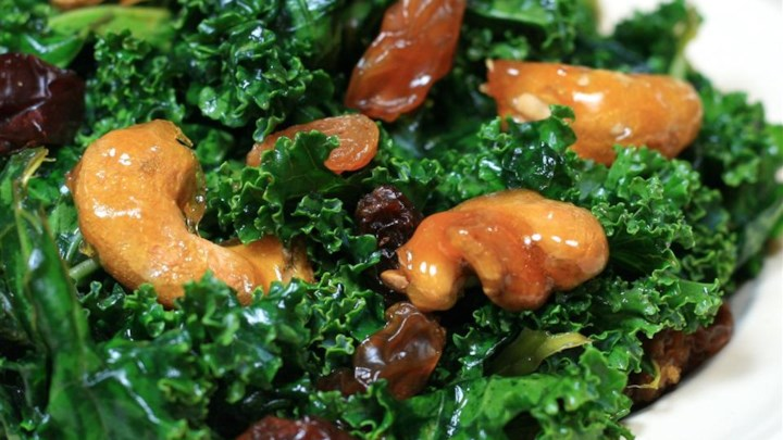 Kale Salad with Sugar-Coated Cashews