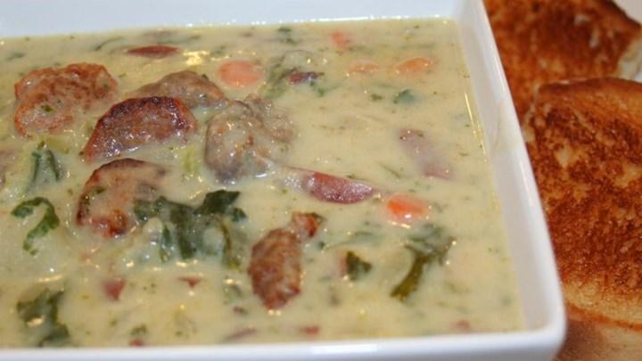 Cream of Potato with Chorizo and Kale Soup