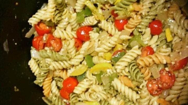Roasted Veggie Pesto Pasta Salad