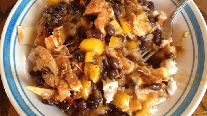 Fast Chicken Over Black Beans and Rice