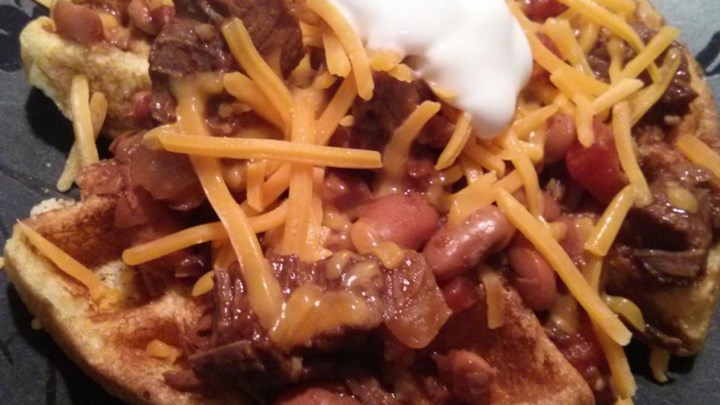 Trina's Beef Brisket Chili with Cornbread Waffles