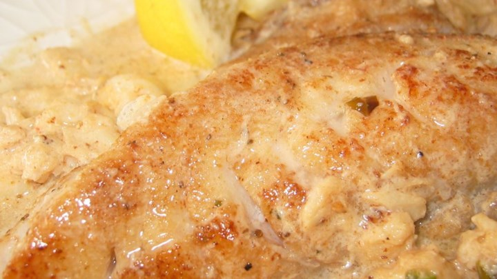 Rockfish with Crab and Old Bay Cream Sauce