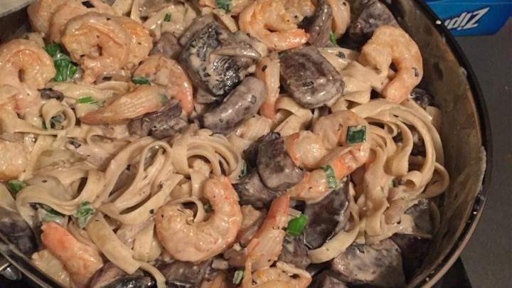 Shrimp and Portobello Mushroom Fettuccine