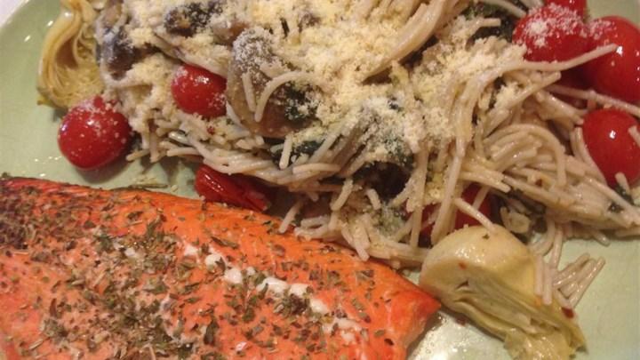 Salmon Pasta with Spinach and Artichokes