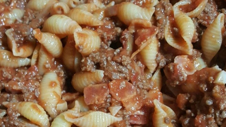 Shells with Bacon and Beef Sauce