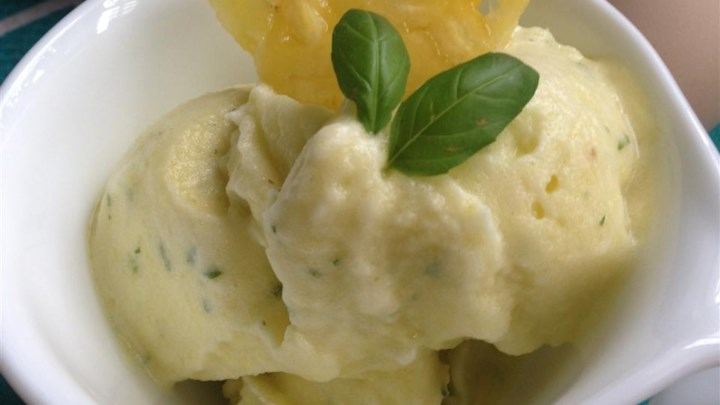 Pineapple and Basil Sorbet