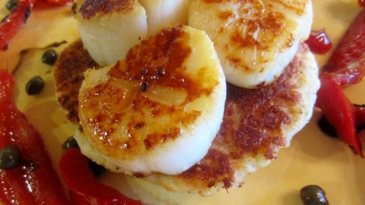 Red Pepper Scallops on Potato Pancakes