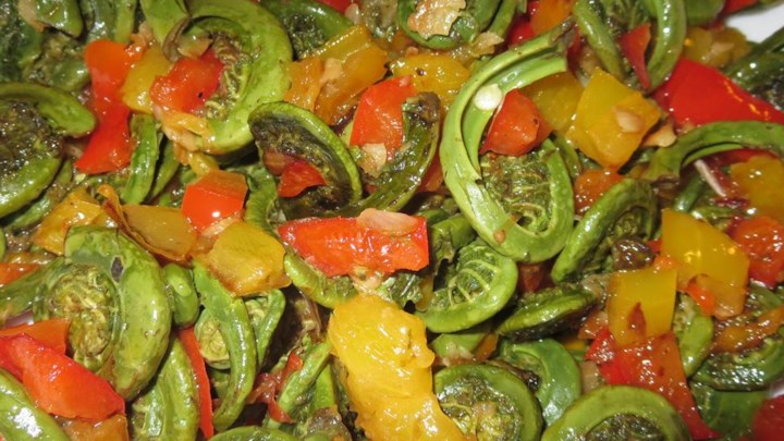 Spring Fiddleheads and Sweet Peppers