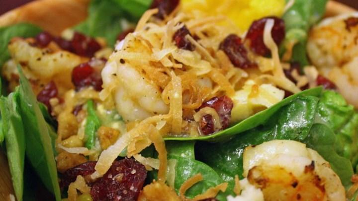Tropical Shrimp Spinach Salad
