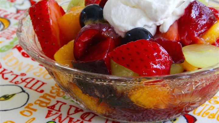 Summer Fruit Salad with Whipped Cream