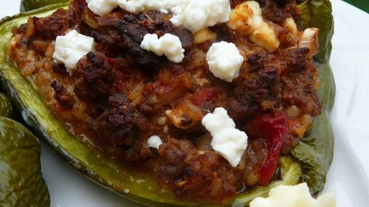Mexican-Greek Stuffed Green Peppers