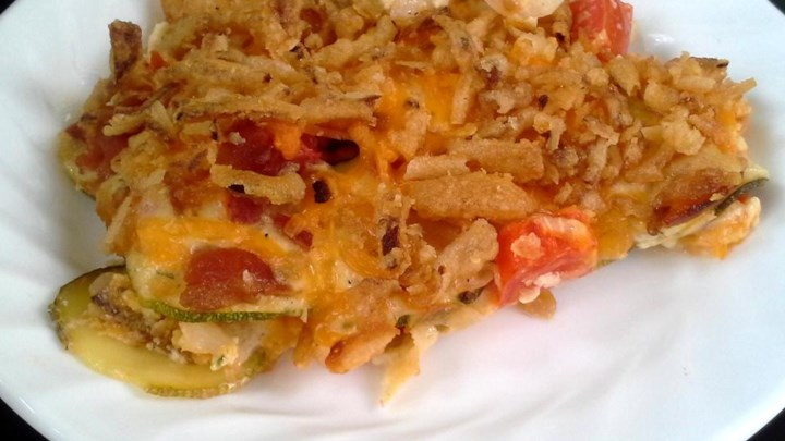 Home-Grown Zucchini and Tomato Cheddar Bake