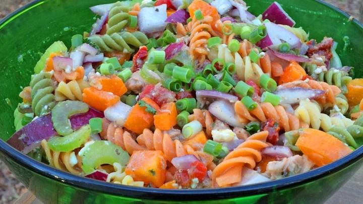 Tuna Souvlaki Pasta Salad