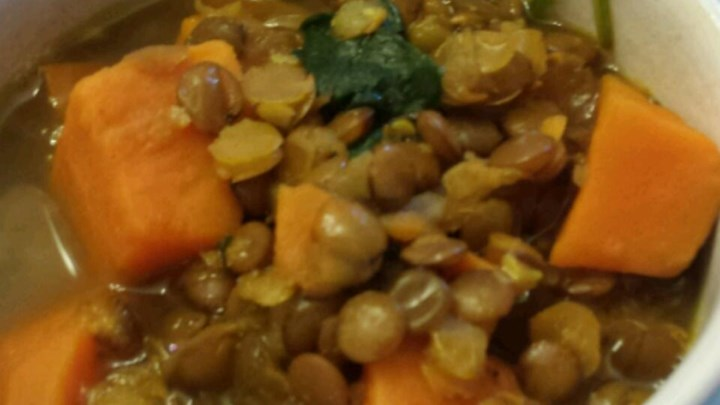 Indian Sweet Potato and Lentil Soup