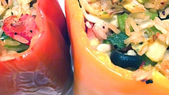 Nick's Feta and Artichoke Stuffed Peppers