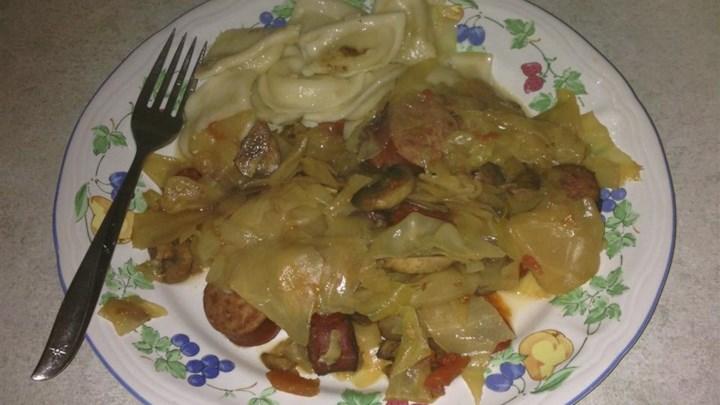 Cabbage, Polish Sausage, and Pierogies