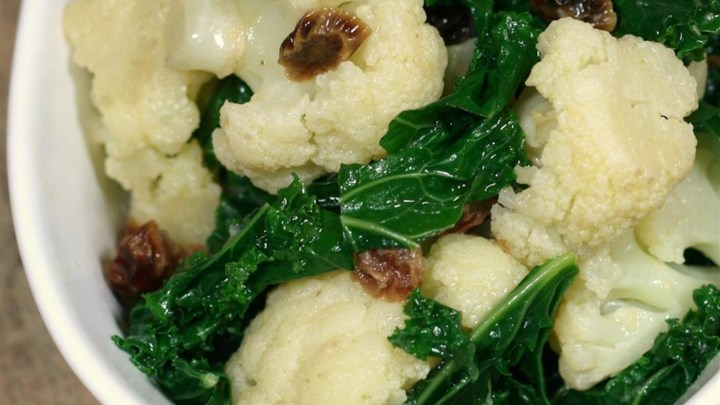 Cauliflower and Kale with Mustard Currant Dressing