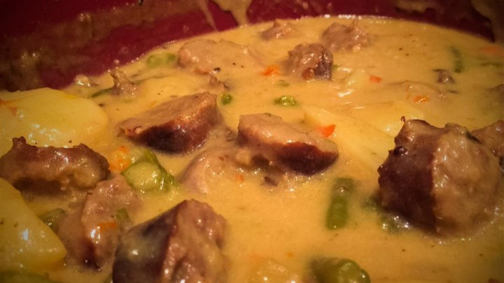 Cheesy Brat Stew for the Slow Cooker