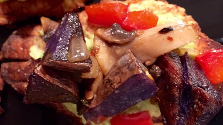Vegetarian Purple Potatoes with Onions and Mushrooms