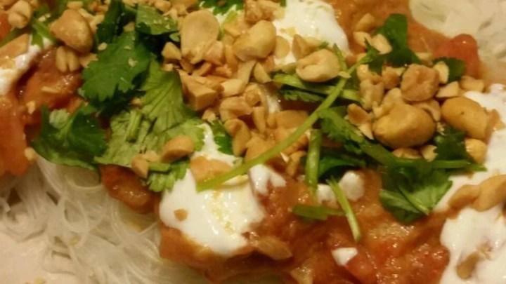 Spicy Peanut Shrimp Rice Noodles