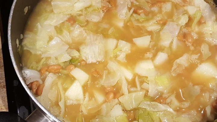 Cabbage, Potato and Baked Bean Soup