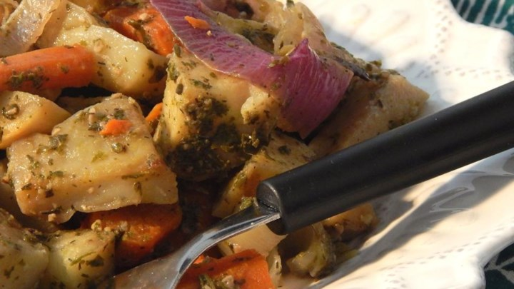 Root Vegetables Baked in Pesto Sauce