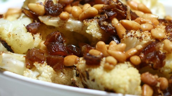 Roasted Cauliflower with Dates and Pine Nuts