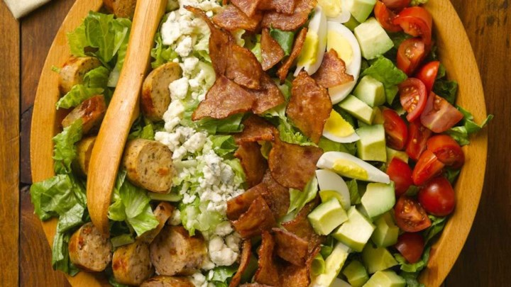 Chicken Bacon Cobb Salad with Sundried Tomato Chicken Sausage