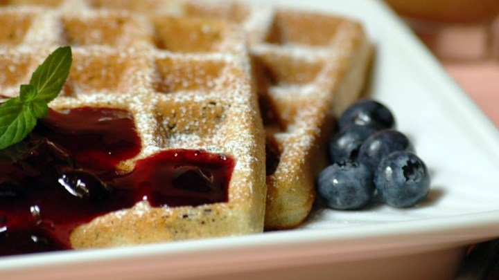 Blueberry Waffles with Fast Blueberry Sauce