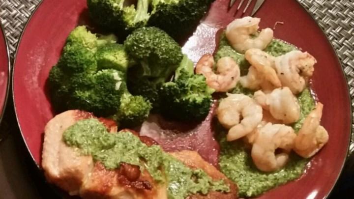 Pan Seared Salmon and Scallops with Macadamia-Cilantro Pesto