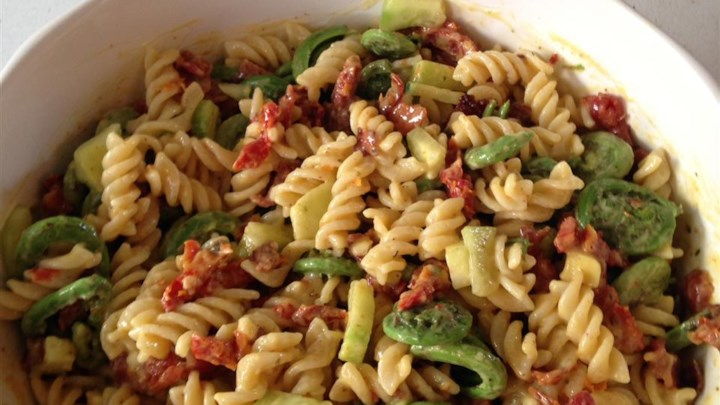 Pasta Salad with Fiddleheads, Bacon, and Sun-Dried Tomatoes