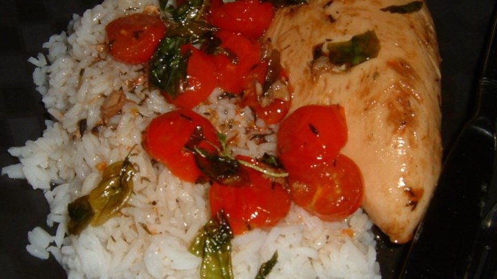 Chicken with Grape Tomatoes and Fried Basil