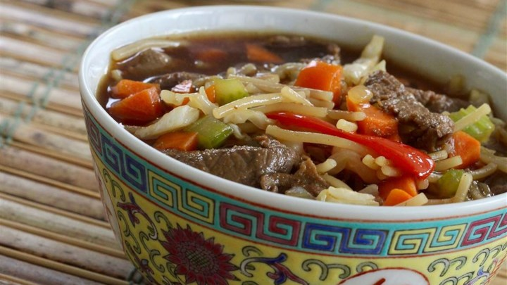 Asian-Themed Beef and Rice Noodle Soup