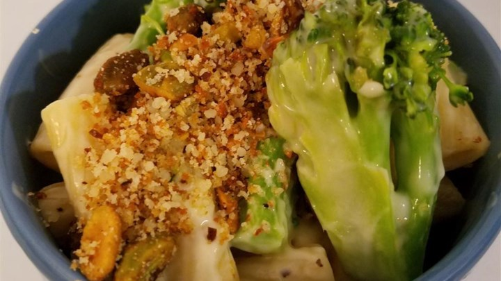 Roasted Broccoli Alfredo Pasta with Pistachio Crumble