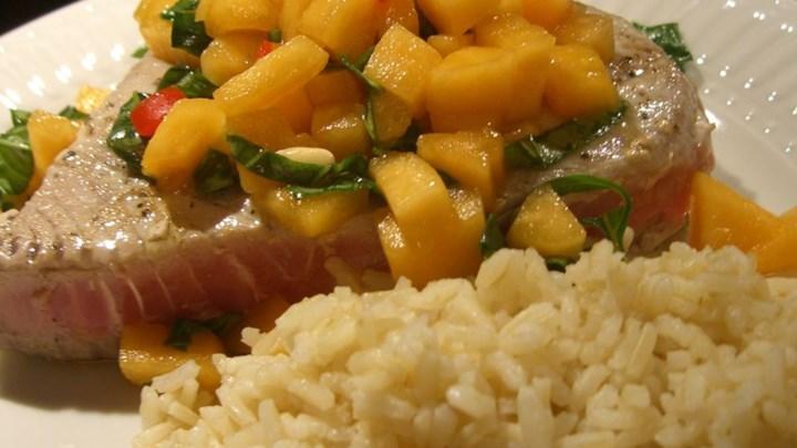 Tuna Steaks with Melon Salsa