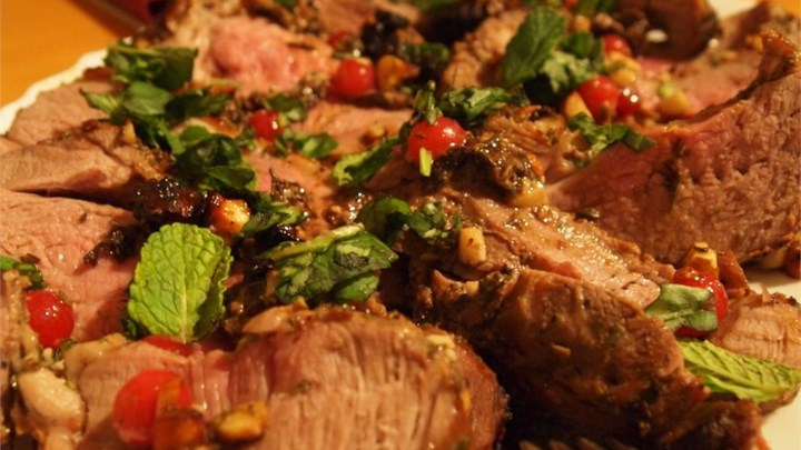 Stuffed Leg of Lamb with Balsamic-Fig-Basil Sauce