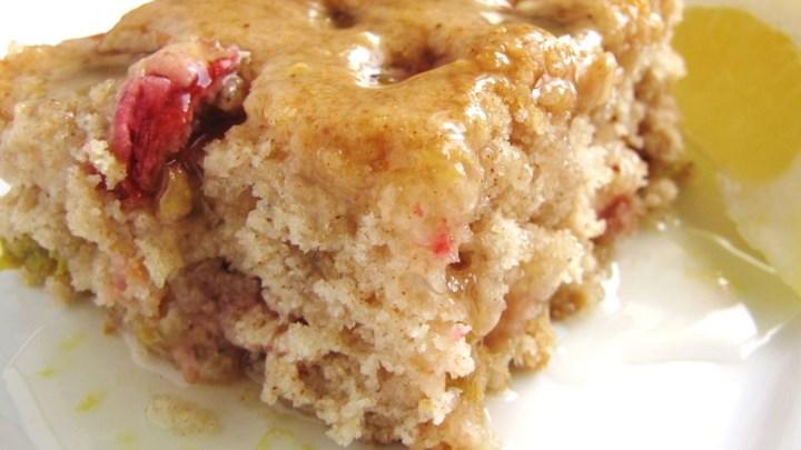 Rhubarb Spice Cake with Lemon Sauce