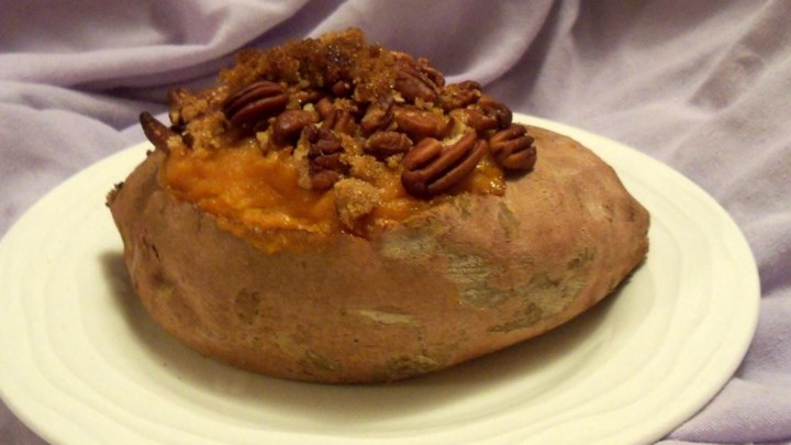 Stuffed Baked Sweet Potatoes with Pecans