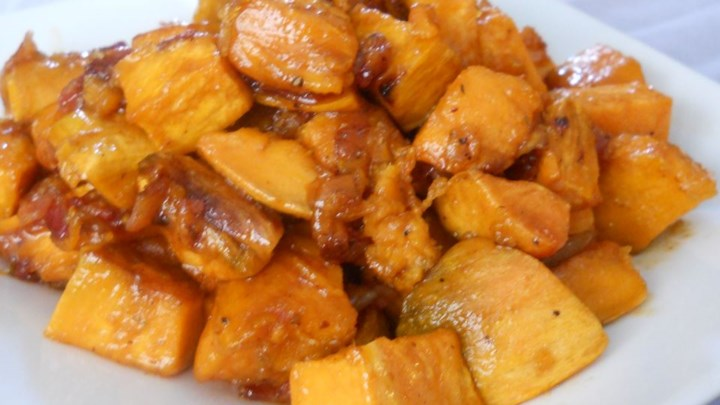 Maple Glazed Sweet Potatoes with Bacon and Caramelized ...
