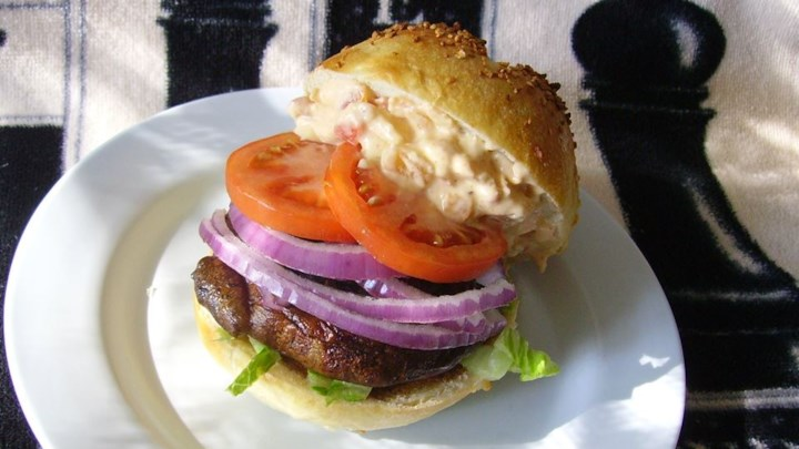 Portabella Mushroom Burgers with Red Pepper Mayonnaise