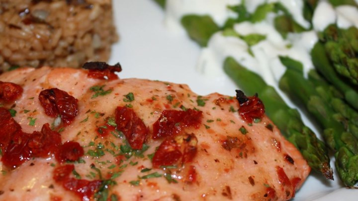 Sun-Dried Tomato Cedar Plank Salmon