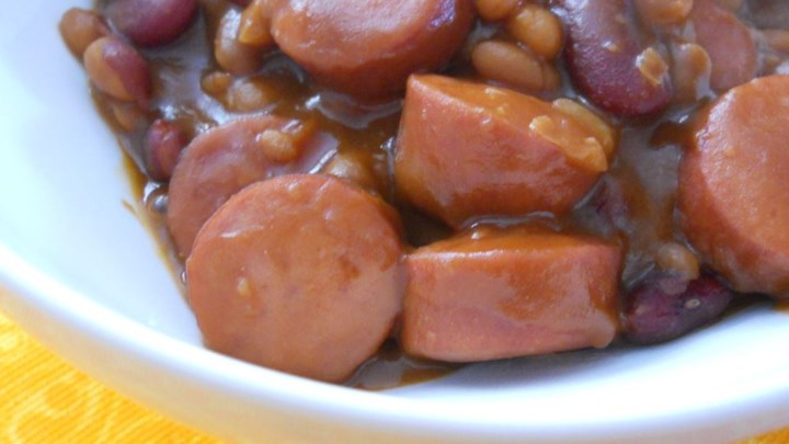 Blame the Dog Bean Casserole (Kielbasa and Bean Dish)